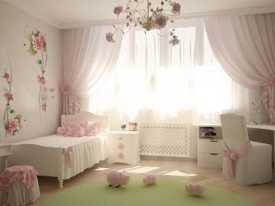 розово-белая комната